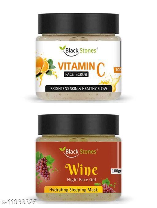 Vitamin C Face Scrub & Wine Night Face Gel combo1