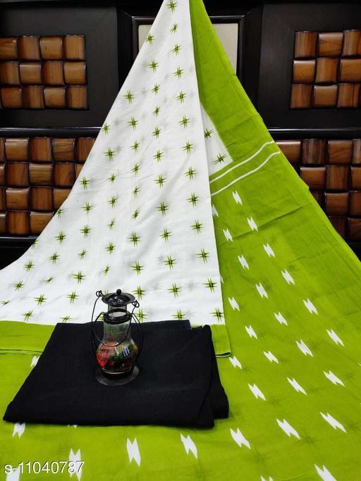 Geeta Handicrafts Women's Cotton Printed Saree with Unstiched Blouse Piece