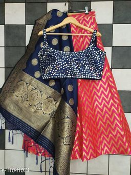 Krishna Priya Fancy Designer Silk Jacquard Lehenga with Fantom Silk Mirror Handwork Blouse & Jacquard Silk Dupatta
