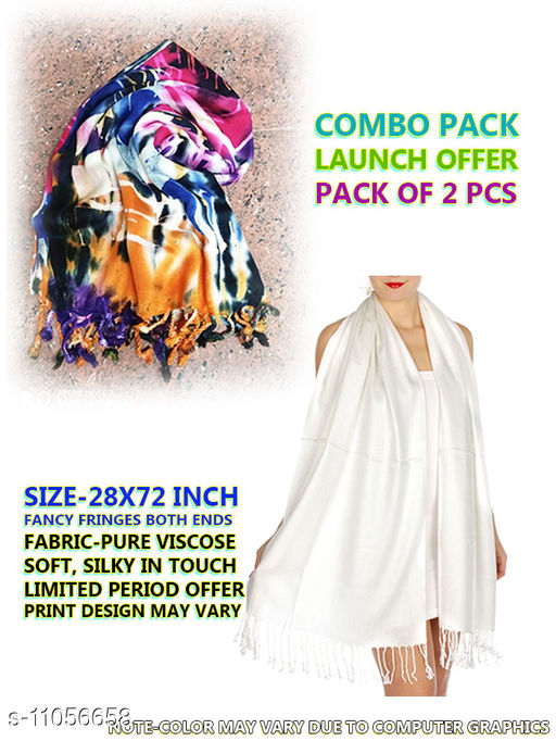 Scarves & Stoles scarves and stoles for women  *Fabric* Soft Silk  *Pattern* Solid  *Multipack* 2  *Sizes* Free Size (Length  *Sizes Available* Free Size *    Catalog Name: Scarves & Stoles  CatalogID_2053014 C72-SC1083 Code: 533-11056658-