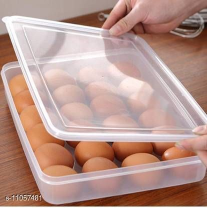 24 Grids Plastic Egg Box Container Holder Tray for Fridge with Lid for 2 Dozen 24 Eggs (Pack of 1)