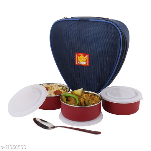 Insulated Sleek & Premium Lunch Box Bag with 3 Stainless Steel Microsafe Containers - 900 ml