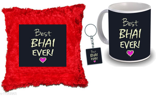 """Birthday gift for Brother, Rakhi & Bhai Dooj Gifted Mug for Our special Brother 1 Far cusion 14X14"""" with filling, 1 Printed Mug, 1 Printed Key Ring for Our New Trendy High Quality Multicolor Ceramic Gifted Mug  (250 ml)"""