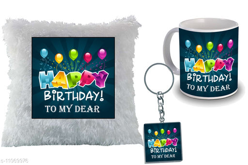 """Birthday Gift for Sister, Wife, Brother, Mother, Dad special Gifted Mug, Far cusion 14X14"""" with filling, 1 Printed Key Ring  best gift for sister birthday  New Trendy High Quality Multicolor Ceramic Gifted Mug  (250 ml)"""