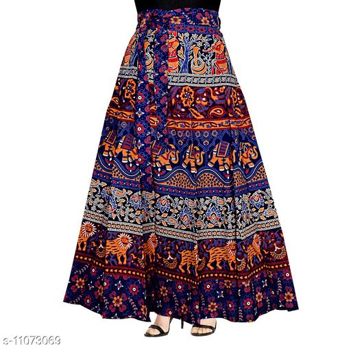 FashneAttire Women's Printed Cotton Wrap Around Skirt (Blue_D1022)