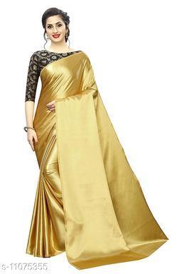 Golden Color Beautiful Satin Silk Saree