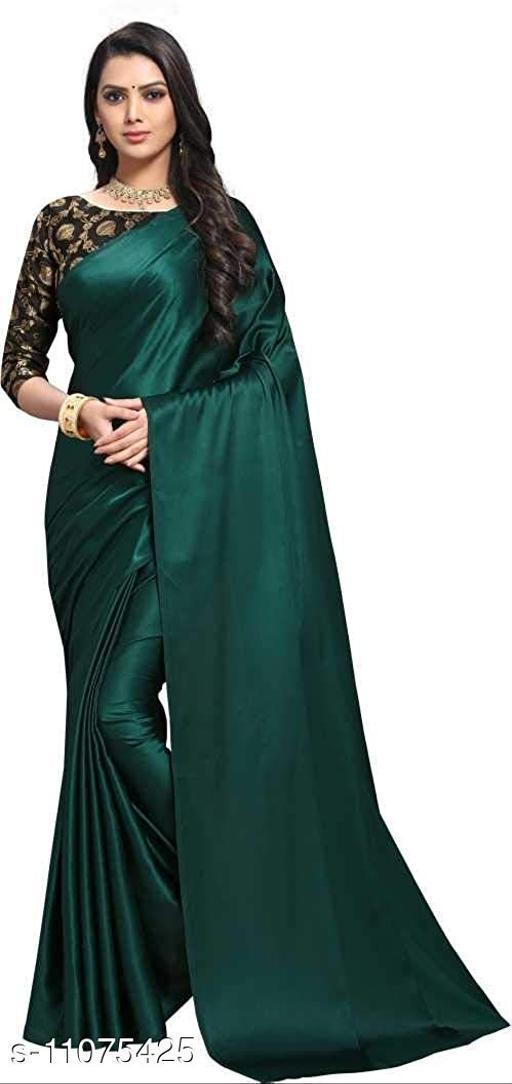Green Color Beautiful Satin Silk Saree