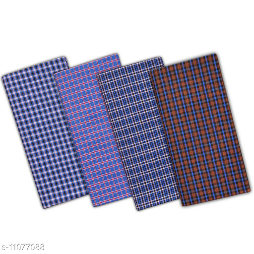 SSS Multi Color  Cotton Checks Lungi for Men's, Combo of 4, Size-2.25meters (Lungis)