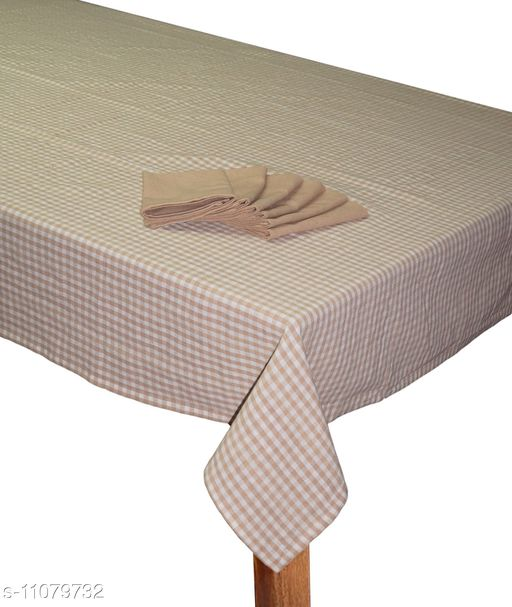 """Lushomes Biscuit Cotton Checks Dining Table Covers with Table Napkins (6 Seater, 60"""" x 90"""")"""