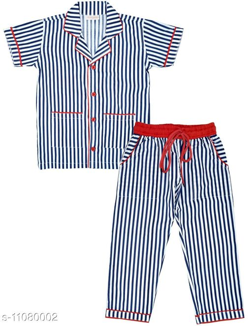 Nightsuits Beautiful night dress  *Top Fabric * Cotton  *Bottom Fabric * Cotton  *Sleeve Length * Short Sleeves  *Top Pattern * Striped  *Bottom Pattern * Striped  *Multipack * 1  *Sizes *   *7-8 Years ( Chest Size * 30 in , Length Size  *Sizes Available* 7-8 Years *    Catalog Name: Elegant Kids Clothing Sets CatalogID_2058847 C59-SC1183 Code: 116-11080002-