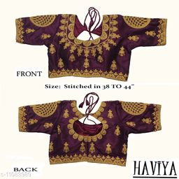 Women's Phantom Silk Wine Embroidered Stitch Blouse