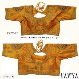 Women's Phantom Silk Yellow Embroidered Stitch Blouse
