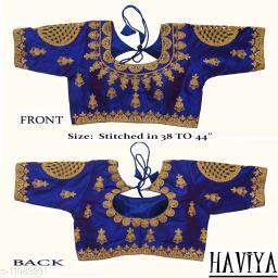 Women's Phantom Silk Royal Blue Embroidered Stitch Blouse