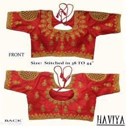 Women's Phantom Silk Red Embroidered Stitch Blouse