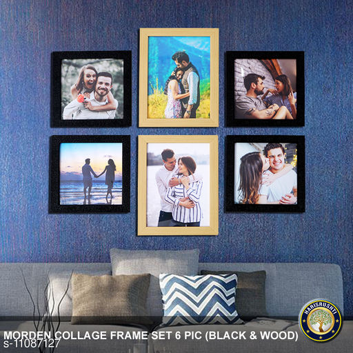 Photo Frames HARISRUSHTI collage set of 6 frames  *Material* Wooden  *Pack* Pack of 1  *Size*   *Sizes Available* Free Size *    Catalog Name: Stylo Multiple Frames CatalogID_2060669 C127-SC1617 Code: 195-11087127-