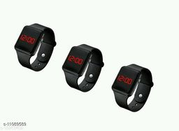 COMBO-3 UNISEXX CLASSY BLACK SQURE DIGITAL WATCHES FOR CHILDERN