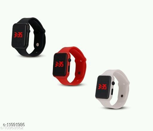 UNISEX CLASSYCOMBO-3 SQURE BLACK-RED-WHITE DIGITAL WATCHES FOR CHILDREN