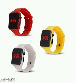UNISEX CLASSY COMBO-3 SQURE RED-YELLOW-WHITE DIGITAL WATCHES FOR CHILDREN