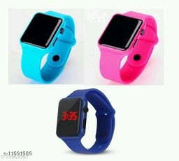 UNISEX CLASSY COMBO-3 SQURE ROYAL BLUE-PINK-BLUE DIGITAL WATCHES FOR CHOLDERN