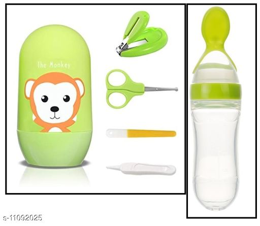 Tiny Tycoonz Combo of Stylish Baby Nail Cutter Set/Grooming Set and Baby Silicone Feeding Bottle with Spoon (Pack of 1 piece each)