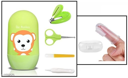 Tiny Tycoonz Combo of Stylish Baby Nail Cutter Set/Grooming Set and Baby Silicone Tongue Cleaner/Toothbrush (Pack of 1 piece each)