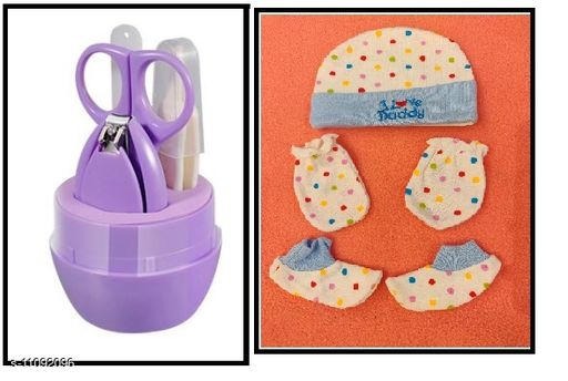 Tiny Tycoonz Combo of Stylish Baby Nail Cutter Set/Grooming Set and Baby Super Soft and Comfortable Mittons Set (Pack of 1 piece each)