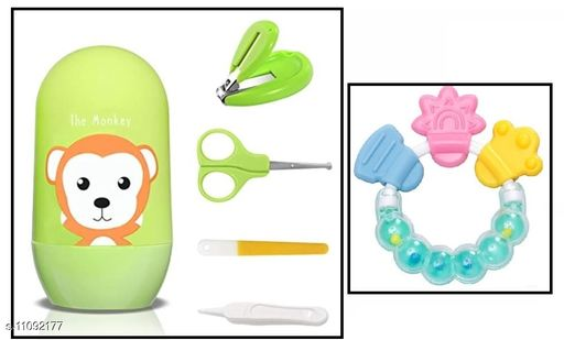 Tiny Tycoonz Combo of Stylish Baby Nail Cutter Set/Grooming Set and Baby Teether Soother (Pack of 1 piece each)