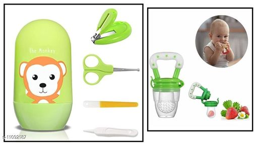 Tiny Tycoonz Combo of Stylish Baby Nail Cutter Set/Grooming Set and Baby silicone Teether Soother/Nibbler/Food Feeder/Fruit Pacifier (Pack of 1 piece each)