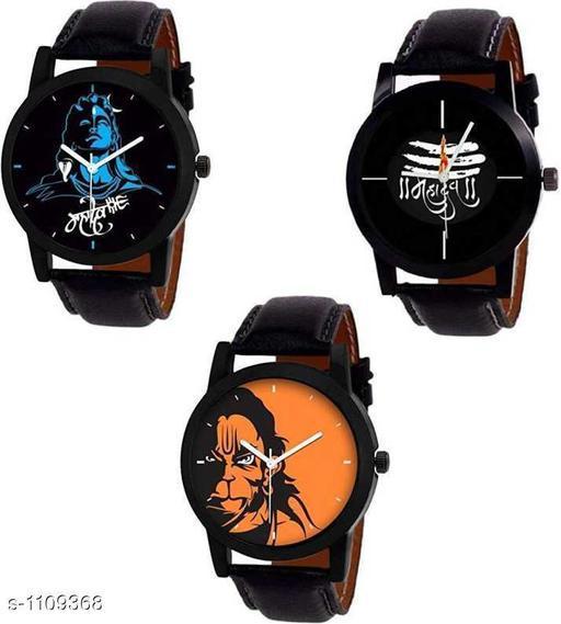 Stylish Leather Analog Watches Combo (Pack Of 3)