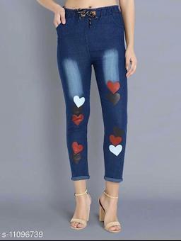 Trendy Martin Joggers Fit Women Denim Classy Blue Jeans For Girls