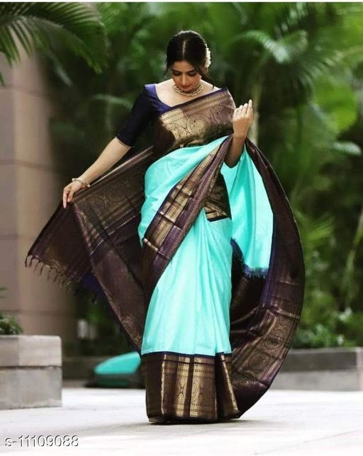 BEAUTIFUL SOFT AND SILKY LITCHI SILK SAREE WITH HEAVY RICH PALLU WITH HEAVY JACQUARD BLOUSE WITH CONTRAST THREAD