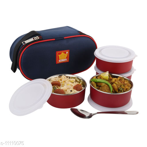 Rident Kitchen Insulated Sleek & Premium Lunch Box Bag with 4 Stainless Steel Microsafe Container - 1200 ml