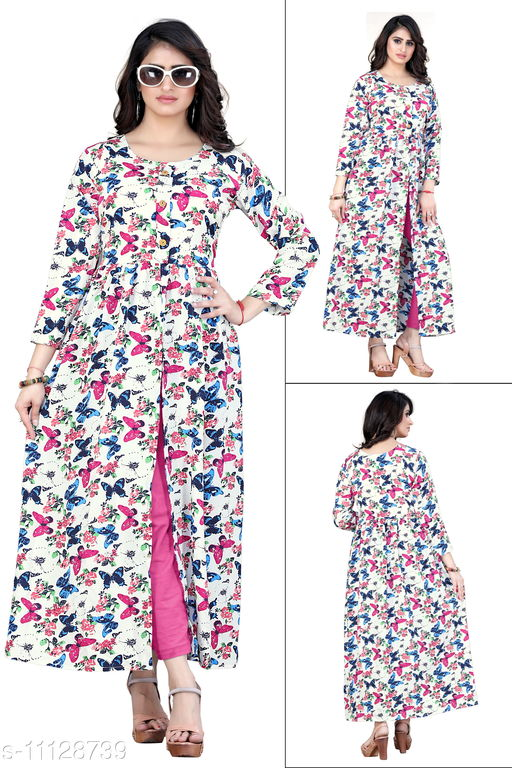 Women Poly Crepe Front Slit Quirky Kurti