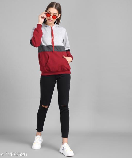 Vivient Women Grey Dark Grey Maroon Colour block Hood Sweatshirt