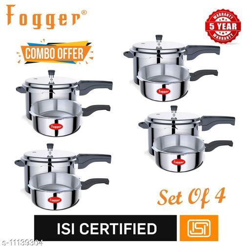 Branded Rice Cookers Fogger Premium Aluminium Outer Lid Pressure Cooker Combo 3 + 5 Litre (Set of 4) Material: Aluminium Pack: Multipack Length: 22.5 cm Breadth: 22.5 cm Height: 16.5 cm Size (in ltrs): 5 L Country of Origin: India Sizes Available: Free Size   Catalog Rating: ★3.1 (29)  Catalog Name: Fogger Pressure Cooker Combo Vol 1 CatalogID_2073630 C104-SC1556 Code: 4273-11139304-