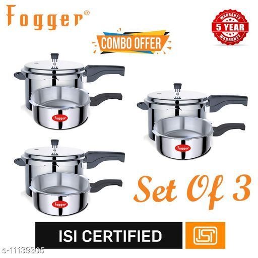 Branded Rice Cookers Fogger Premium Aluminium Outer Lid Pressure Cooker Combo 3 + 5 Litre (Set of 3) Material: Aluminium Pack: Multipack Length: 22.5 cm Breadth: 22.5 cm Height: 16.5 cm Size (in ltrs): 5 L Country of Origin: India Sizes Available: Free Size   Catalog Rating: ★3.1 (29)  Catalog Name: Fogger Pressure Cooker Combo Vol 1 CatalogID_2073630 C104-SC1556 Code: 9782-11139305-