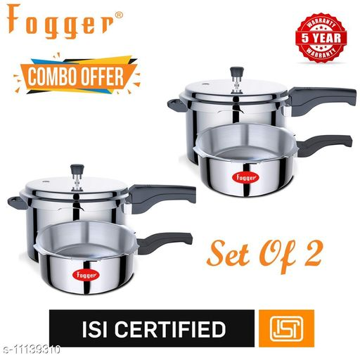 Branded Rice Cookers Fogger Premium Aluminium Outer Lid Pressure Cooker Combo 3 + 5 Litre (Set of 2) Material: Aluminium Pack: Multipack Length: 22.5 cm Breadth: 22.5 cm Height: 16.5 cm Size (in ltrs): 5 L Country of Origin: India Sizes Available: Free Size   Catalog Rating: ★3.1 (29)  Catalog Name: Fogger Pressure Cooker Combo Vol 1 CatalogID_2073630 C104-SC1556 Code: 9102-11139310-