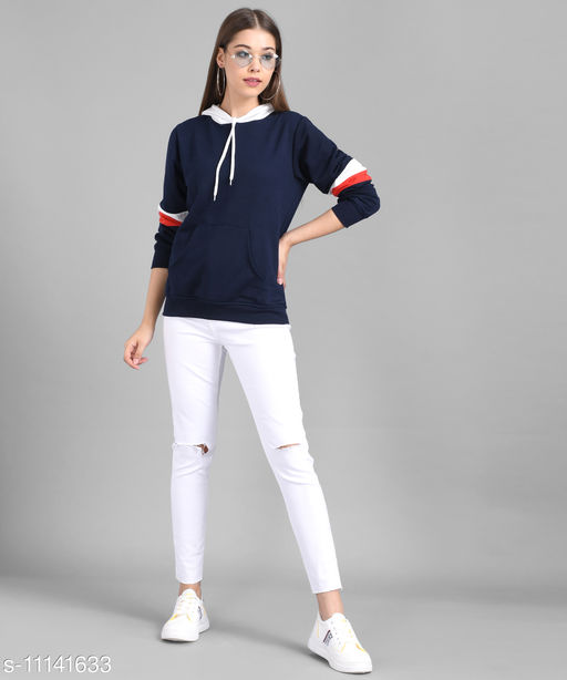 Women Nevy Plain White Hood Sweatshirt