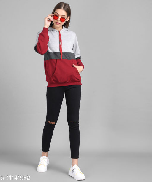 Women Grey Dark Grey Maroon Colour block Hood Sweatshirt