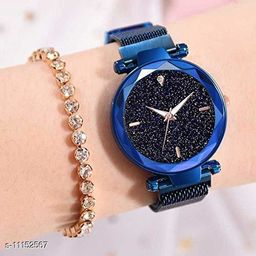 Magnetic buckle attractive analog trendy watch for girls