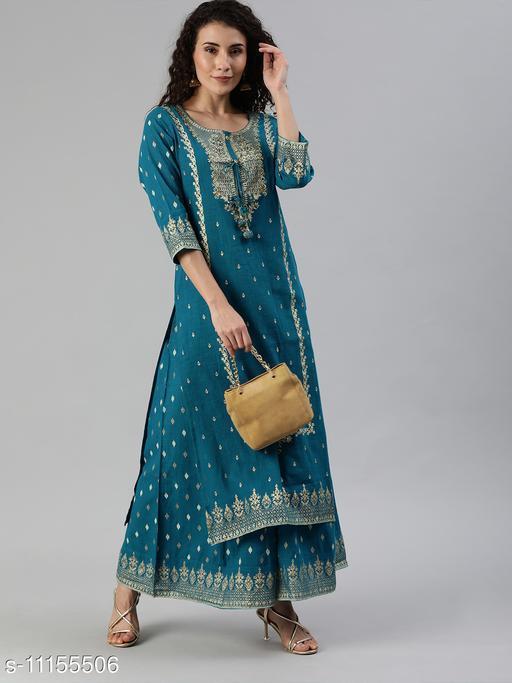 Ishin Women's Blue Yoke Design A-Line Kurta Sharara Set