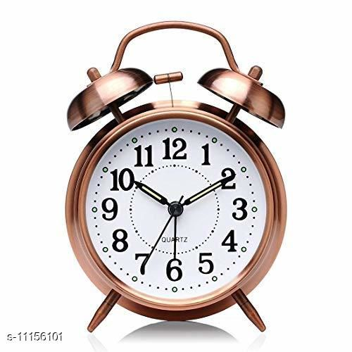 RL ENTERPRISE. Vintage Look Twin Bell Alarm Clock– Loud Bell Alarm – Sweep Movement Alarm for Heavy Sleepers Wind-Up Clock with Night Led Light(Copper)