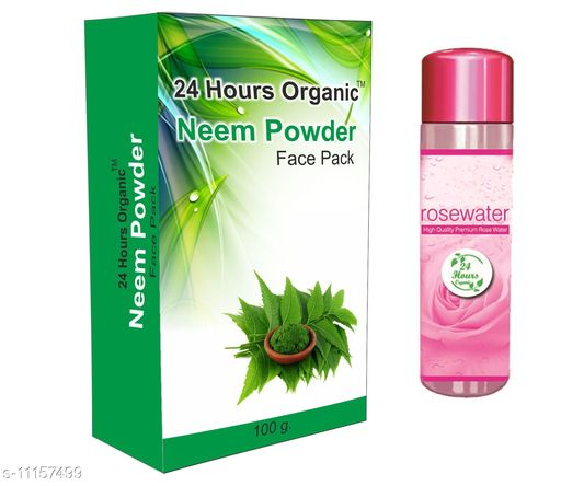 Herbal Products Herbal Product 24 Hours Organic Neem Powder(100g) - Free Rose Water(60ml) (2 Items in the set) Ideal For: Men & Women Form: Powder The 24 Hours Organic Neem Powder manufactured by Rishi Ayurveda Store is made of 100% organic products especially designed for the uses of both face pack and for Hair . This increases skin whitening of the face. It nourishes your skin & reduces acne and pimples. This helps in clearing dandruff cleansing hair scalp treating lice conditioning the hair strengthening the hair follicles besides adding volume and shine to the hair. Because of its organic formula it exfoliates dead cells & helps in generating new one. It also purifies and detoxes our skin. The Powder works as a natural anti-aging powder that helps to uplift the human skin with a natural youth boost. It is 100% veg & chemical free & is suitable for all skin. Multipack: 2 Size : Free Size Country of Origin: India Sizes Available: Free Size   Catalog Rating: ★3.8 (4)  Catalog Name: Herbal Product CatalogID_2078320 C52-SC1305 Code: 302-11157499-