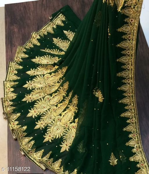 Pure Georgette Green Color Golden Embroidery Work Daimond With Blouse Piece