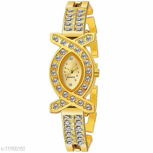 Golden Diamond Dial Women Watch