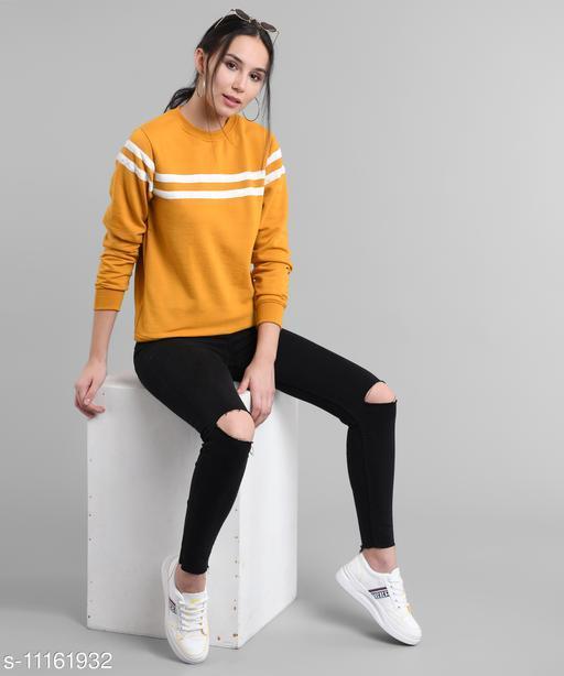 Women Mustured Plain White Stripe Pullover
