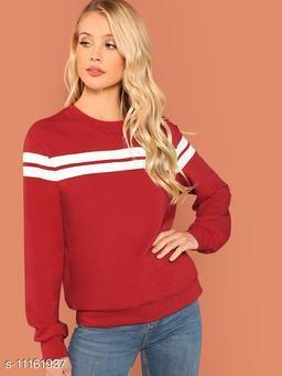 Women Red Plain White Stripe Pullover