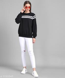 Women Black Plain White Stripe Pullover
