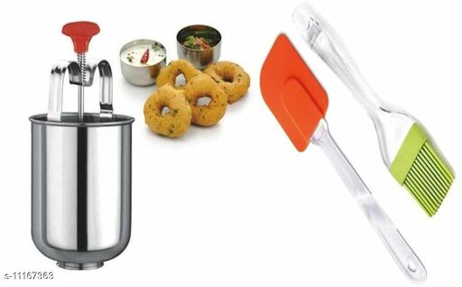 Frekich Vada Maker Mendu WADA Donut Maker Stainless Steel for Convenient Use, with Spatula & Oil Brush Pack of 1