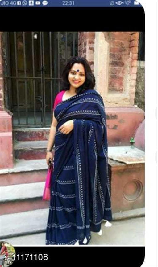 Women's Cotton Saree With Unstiched Blouse pis